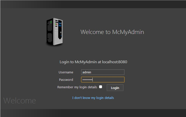 Minecraft_McMyAdmin-login